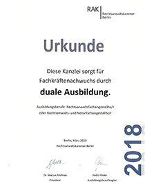 Polski adwokat w Berlinie - Certyfikat